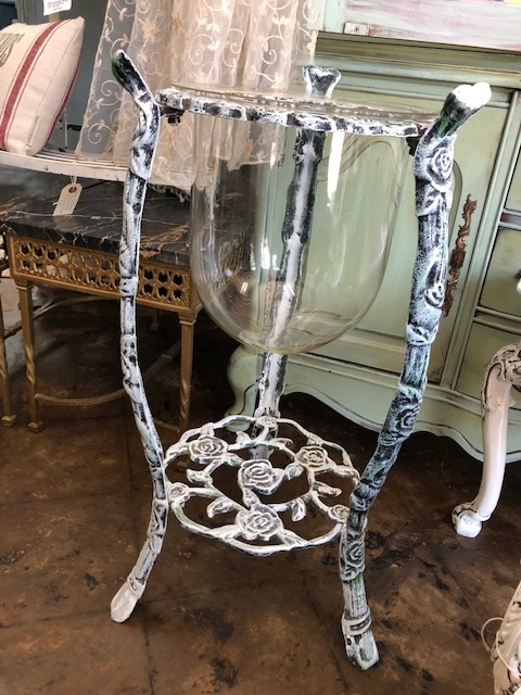 "Wrought Iron ""Rose"" Motif Stand with Glass Cannister"