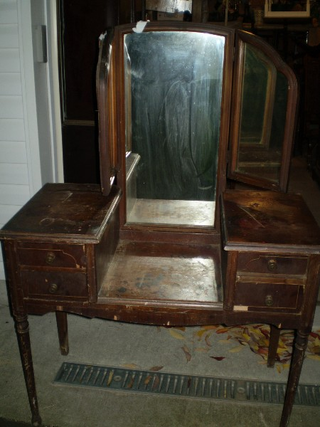 Vanity with Tri Fold Mirror...  Before