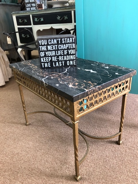 Set of Black Marble Top Tables