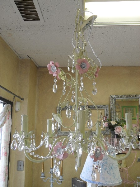 Metal Chandelier in Pink and Green