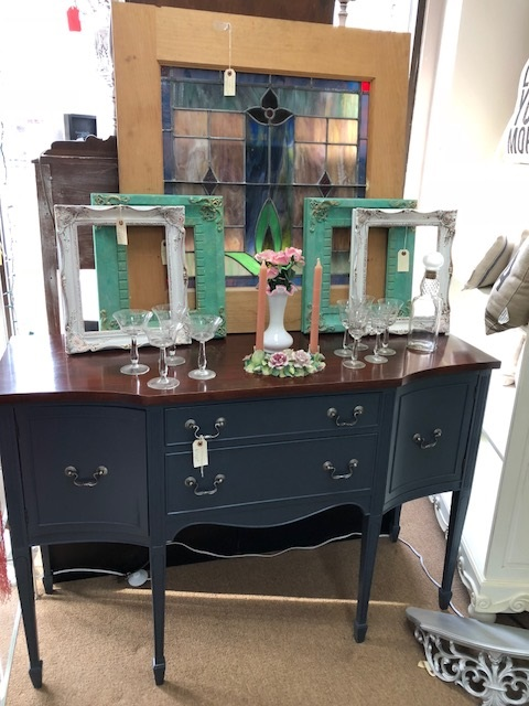 Sideboard with Painted Base and Wood Top