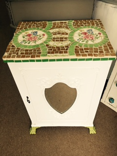Small Cabinet with Mirror Front and Mosaic Top