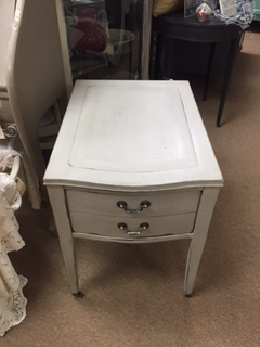 French Grey Night Stand  End Table with Dark Wax