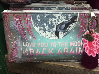 Oil Cloth Make Up Case LOVE YOU TO THE MOON AND BACK