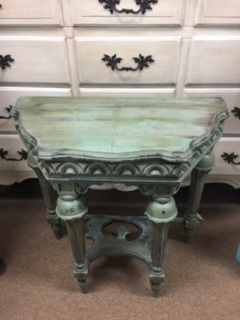 Small Distressed Flat Back Wall Table