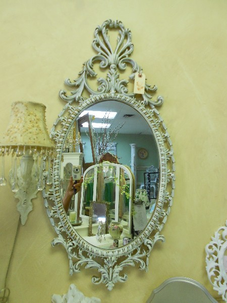 Ornate Oval Mirror Distressed in Creamy White