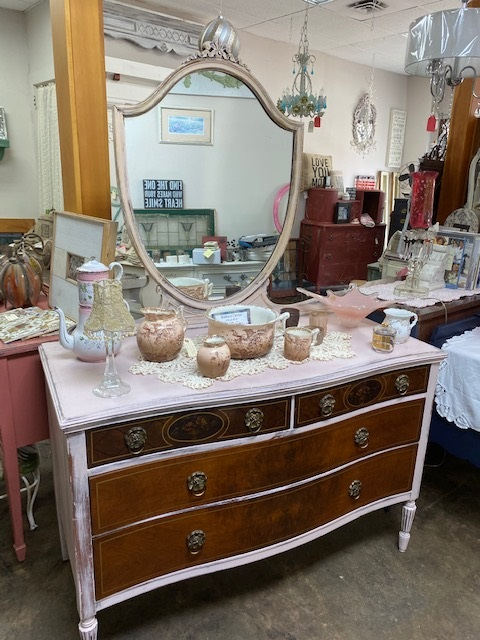 Pink Dresser.. Shield Mirror... Original Wood Drawers