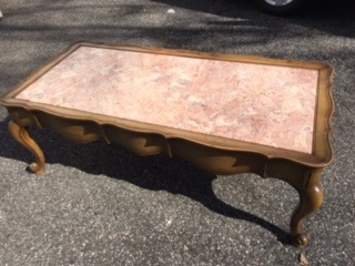 French Provincial Coffee Table with Pink Marble Top