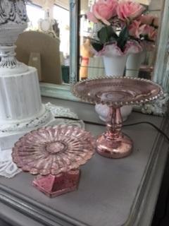 Pink Mercury Glass Pillar Candle Holders