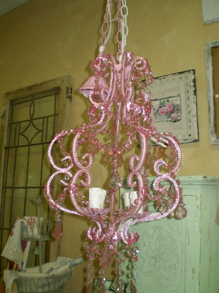 Pink Chandalier with 4 Bulbs