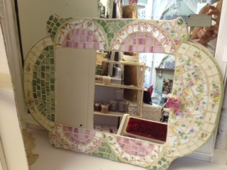Pink and Green Mosaic Mirror