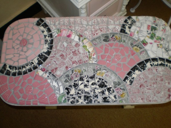 Pink Grey and Black Deco Mosaic Bench