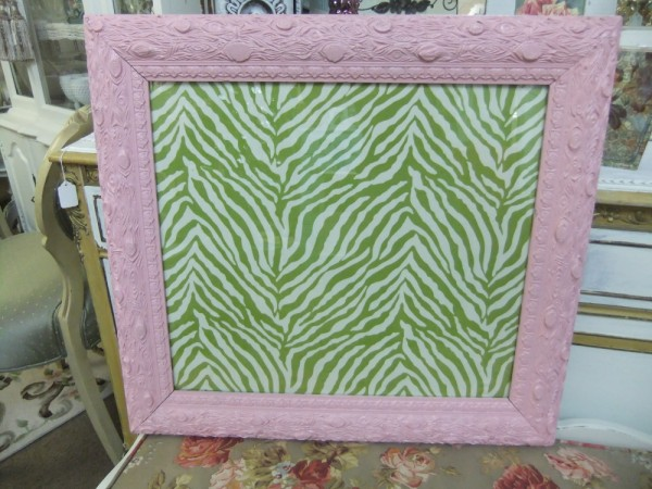 Pink Frame with Green Zebra