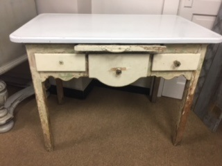 Metal Top VERY SHABBY Farm Table