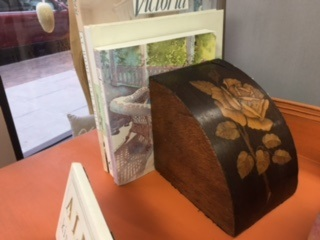 Set of Rose Inlay Wood Book Ends