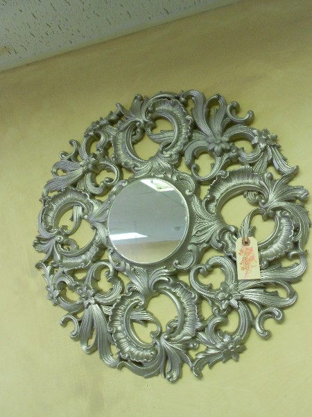 Round Ornate Mirror in Pewter