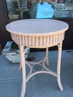 Round Pink Wicker Table