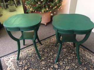 Set of Leather Top Mahagony End Tables