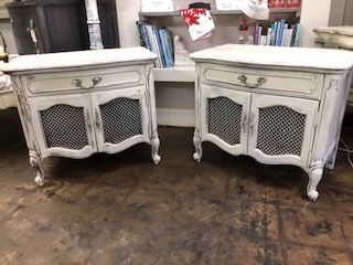 Set of French Provincial End Tables...  Night Stands with Wire Mesh Doors