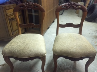 Set of Upholstered Curved Back Petite Chairs