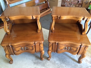 Set of French Provincial 2 Tier End Tables  Night Stands