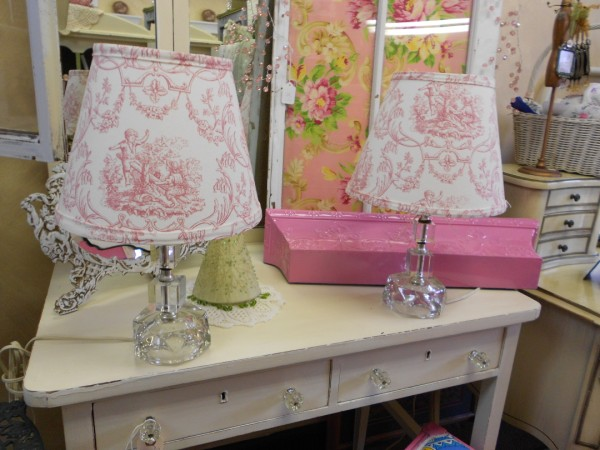 Set of Pink Toille Lamps