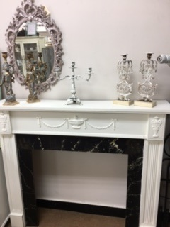 Shabby Chic Mantle with Swag and Urn
