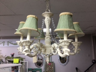 Shabby Chandelier in Creme with Soft Green Shades