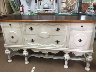 Depression Sideboard with Finished Top and Painted Base