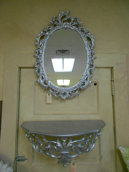 Silver Metallic Ornate Mirror