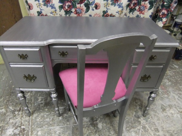 Silver Shimmer Glam Desk and Chair