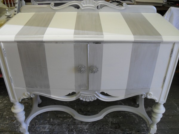Silver Shimmer Stripe Small Sideboard