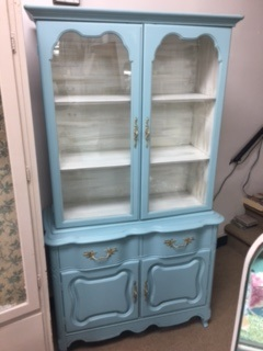 Petite French Provincial China Cabinet... BookCase...Hutch...Kitchen Cabinet