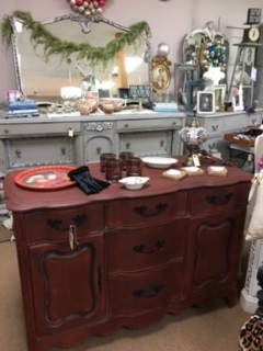 Small French Provincial Sideboard... Buffet...... TV STAND ...  in Distressed Red