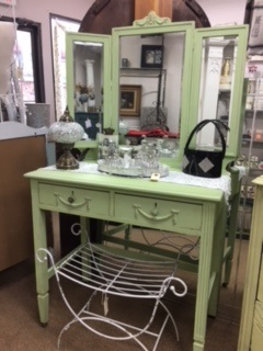 Soft Lime Green Vintage Vanity with Tri Fold Mirror