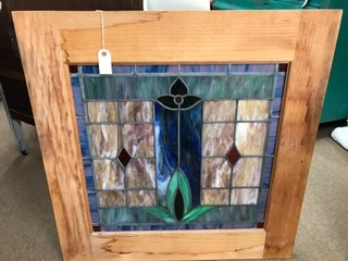 Wood Framed Vintage Stained Glass Window