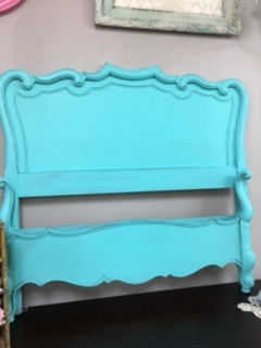 "French Provincial Twin Bed in ""Beachy Turquoise"""