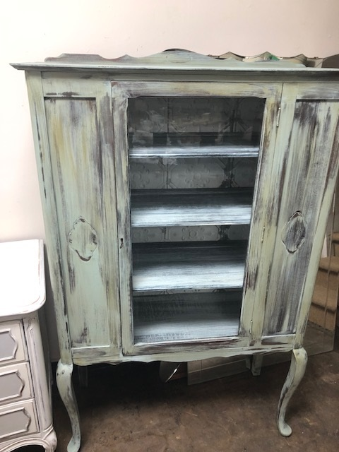 Beachy Distressed Vintage China Cabinet