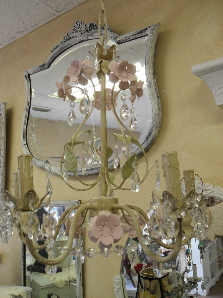 White and Pink Metal Flower Chandelier