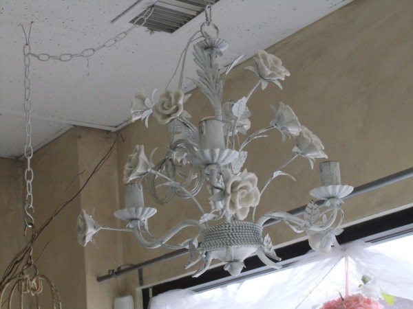 White Distressed Metal Chandelier with Porcelain Roses